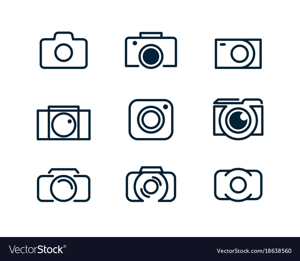 Set of linear camera icons logo of the photograph vector image
