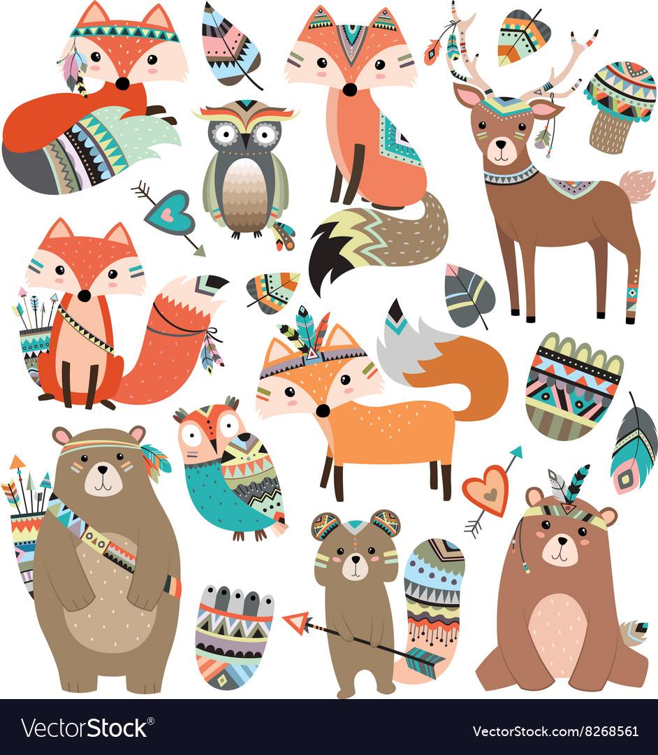 Woodland Tribal Animals Volume 2 vector image