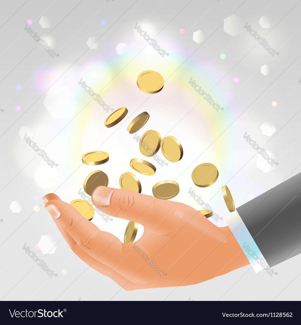 Golden coins falling into male hand vector image
