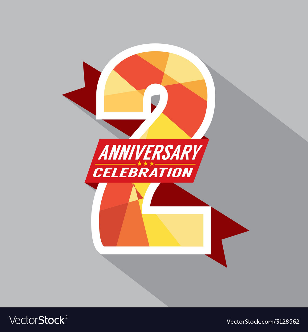 2th Years Anniversary Celebration Design vector image