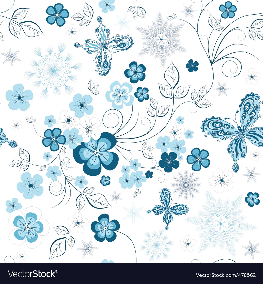 Winter floral pattern vector image