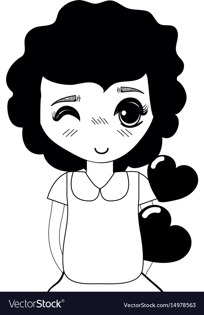 Contour pretty girl with hearts in the hand and vector image
