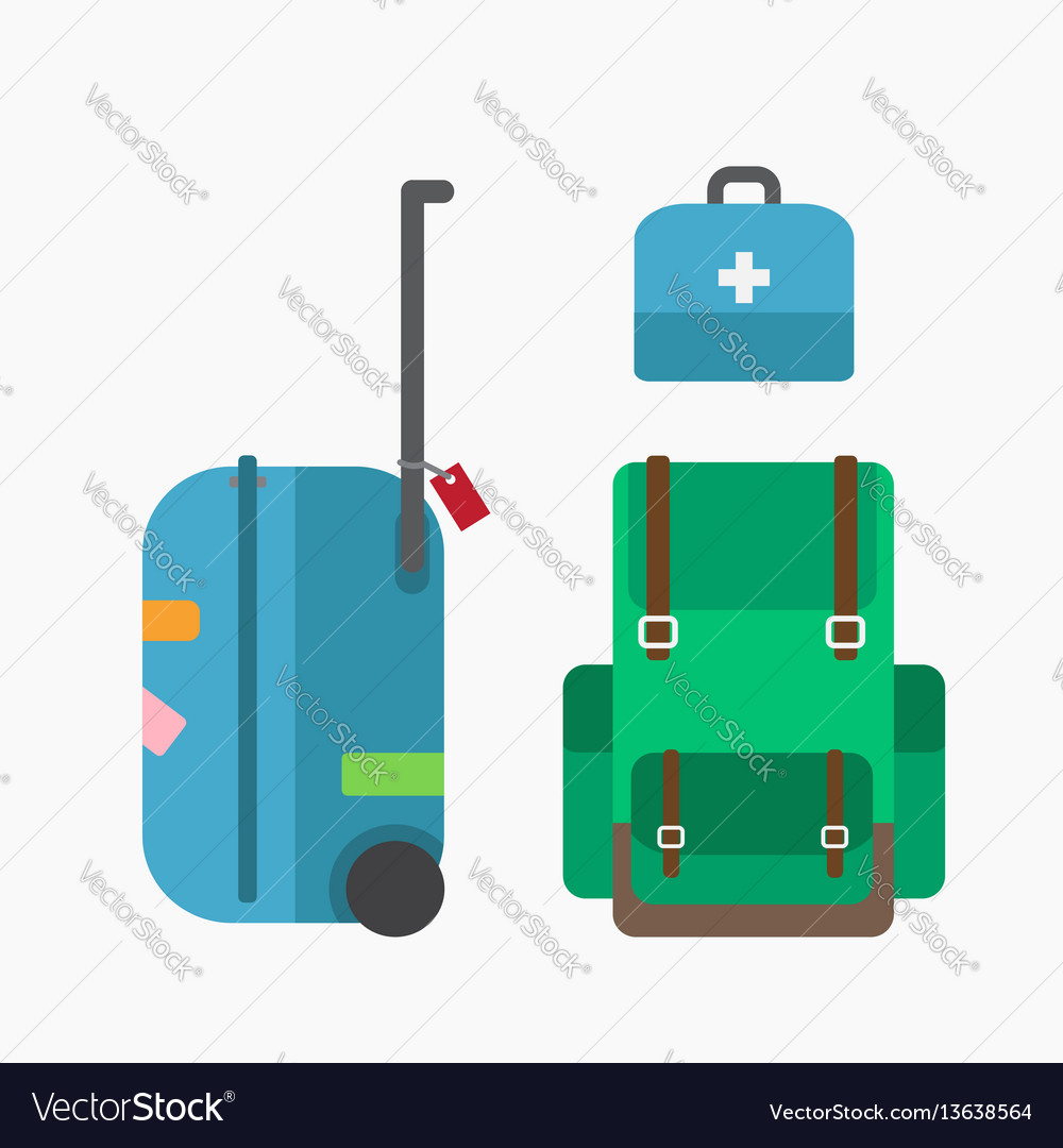 Luggage bag and backpack vector image