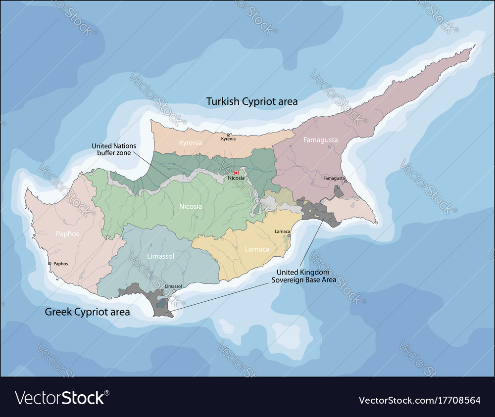 Map of cyprus Royalty Free Vector Image VectorStock