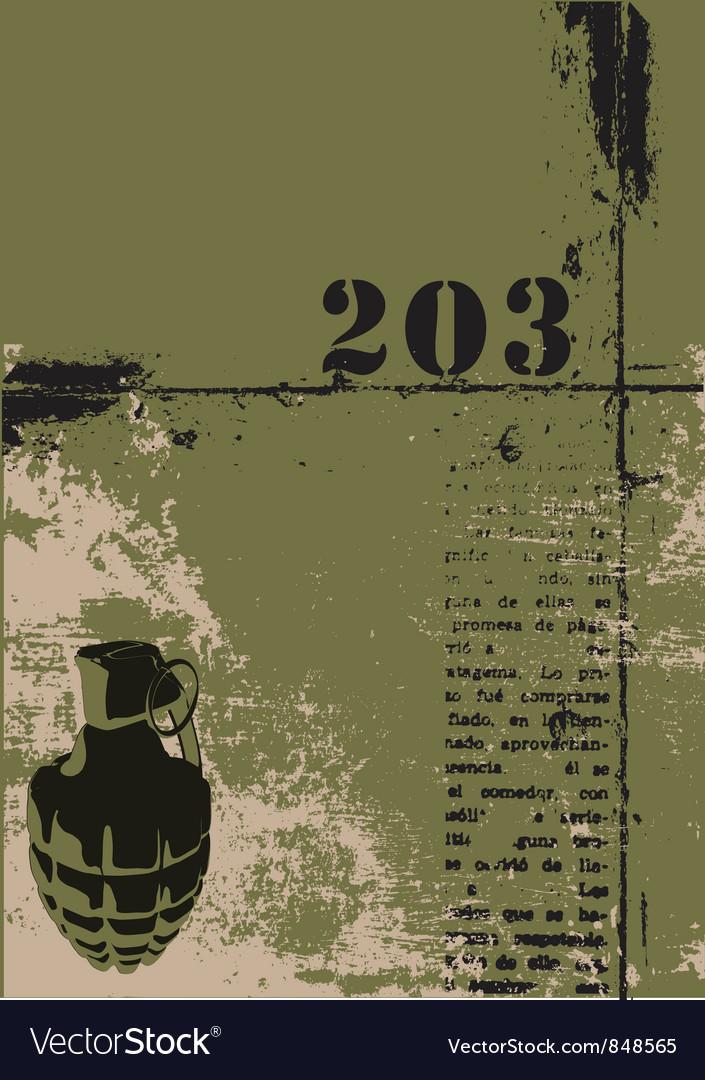 Hand grenade grunge background vector image