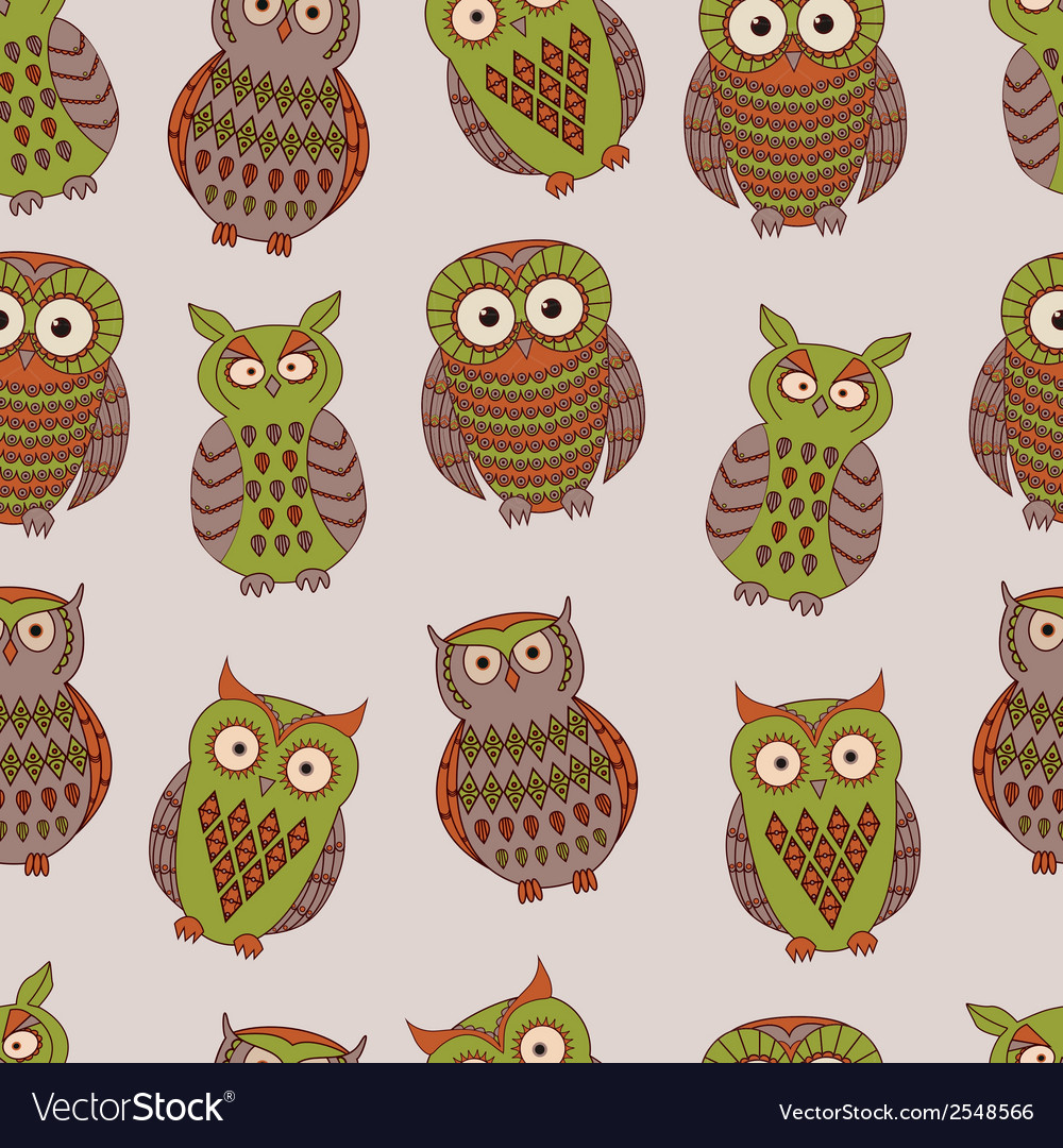 Colorful seamless pattern with different owls vector image