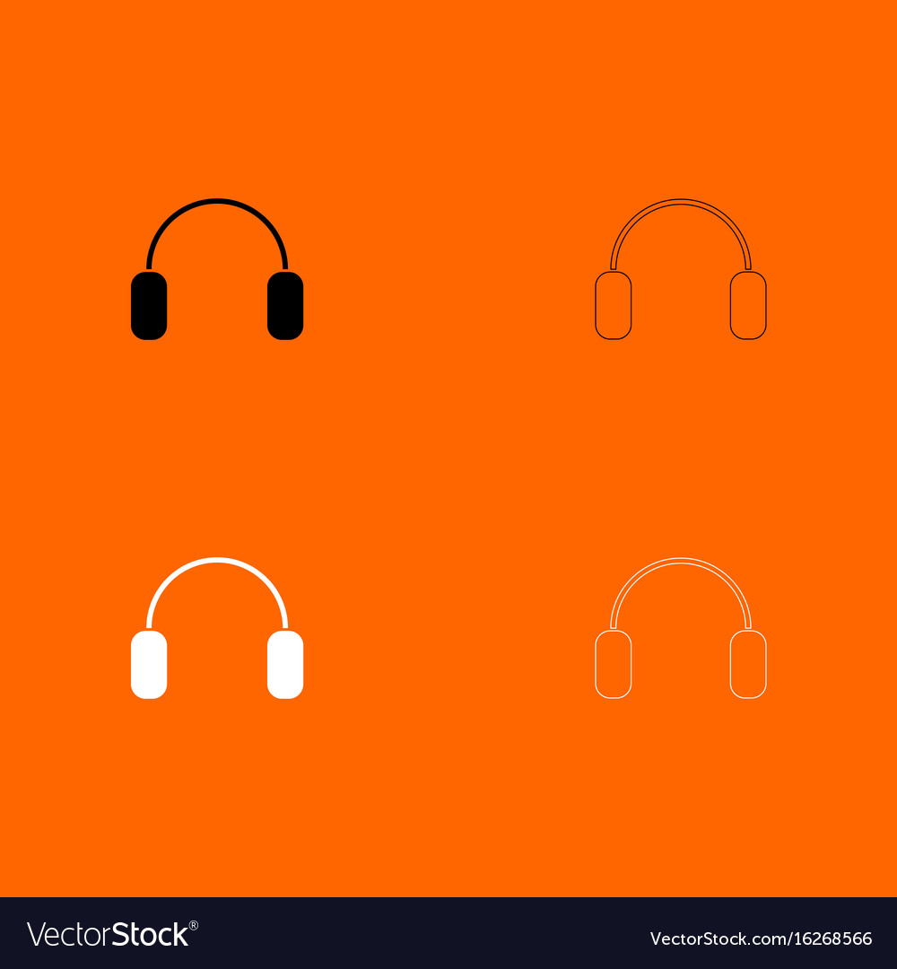 Headphone black and white set icon vector image