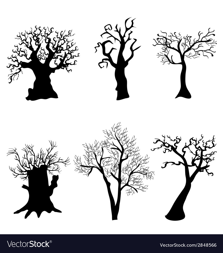 Set of halloween trees with bats spiders and owl Vector Image