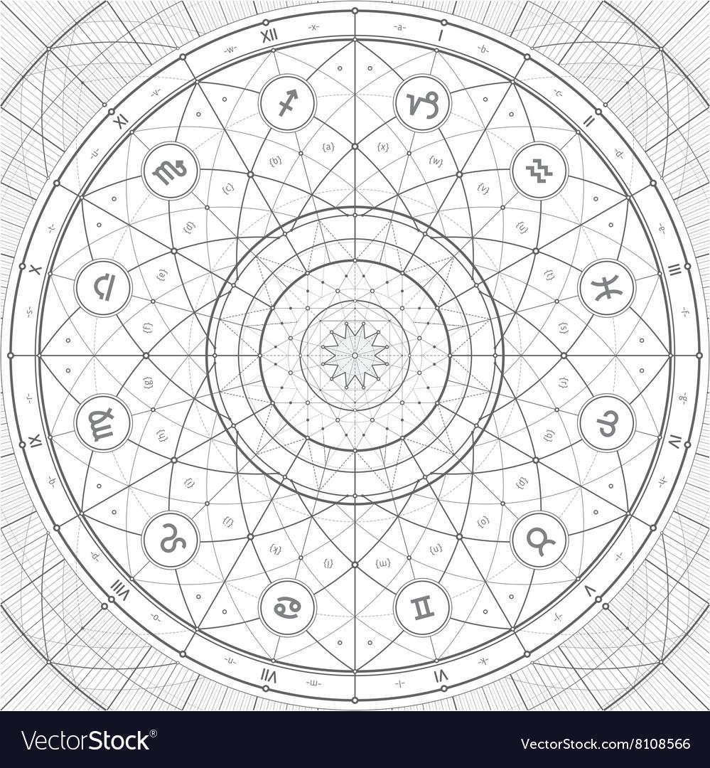 Zodiac ring linedraft vector image