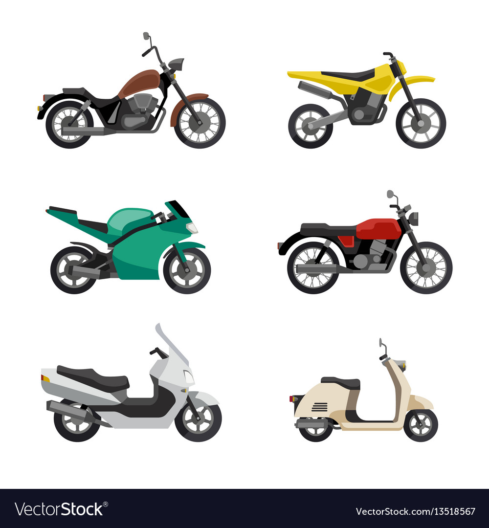 Motorcycles and scooters vector image