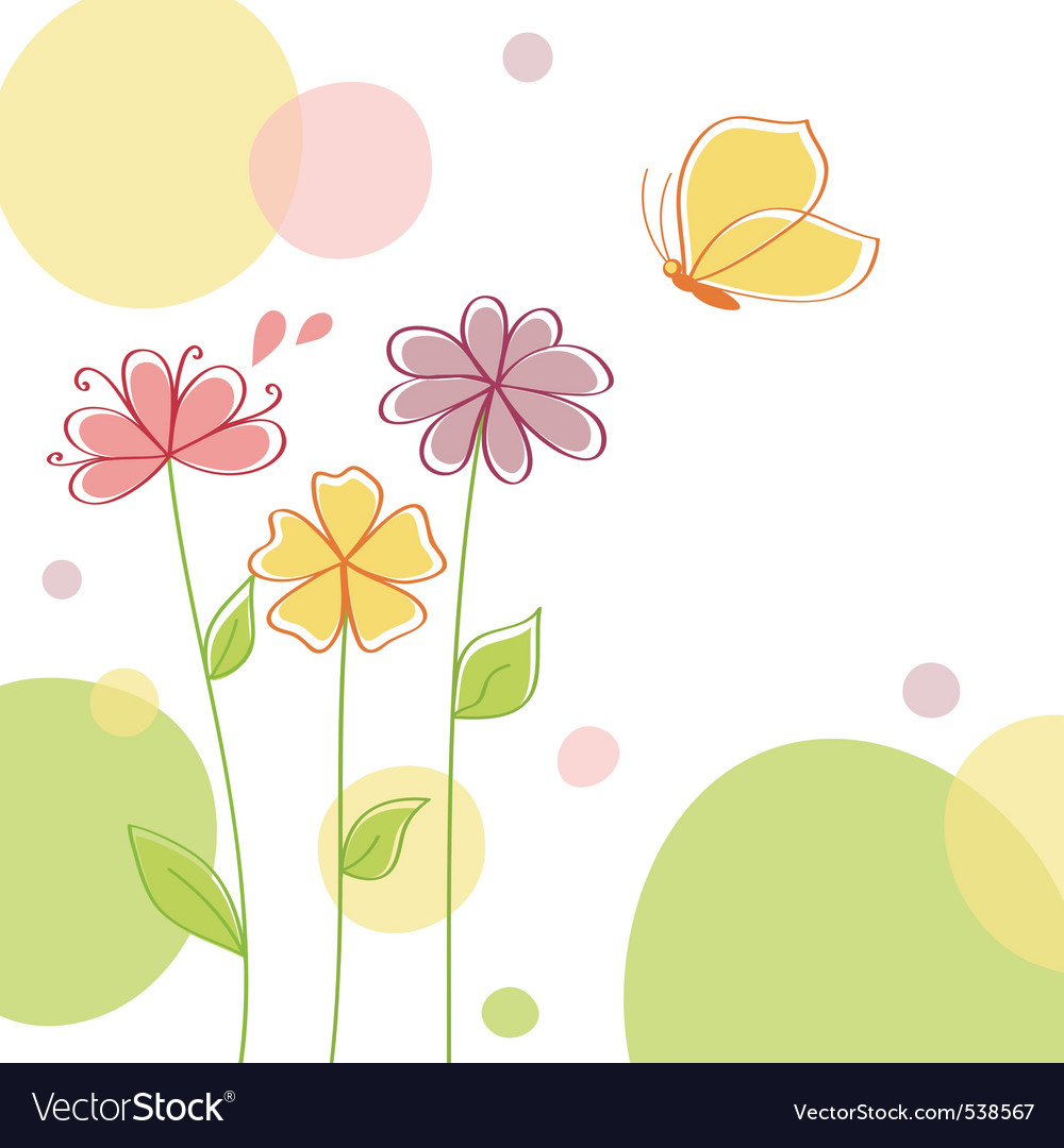 Nature background with flowers vector image