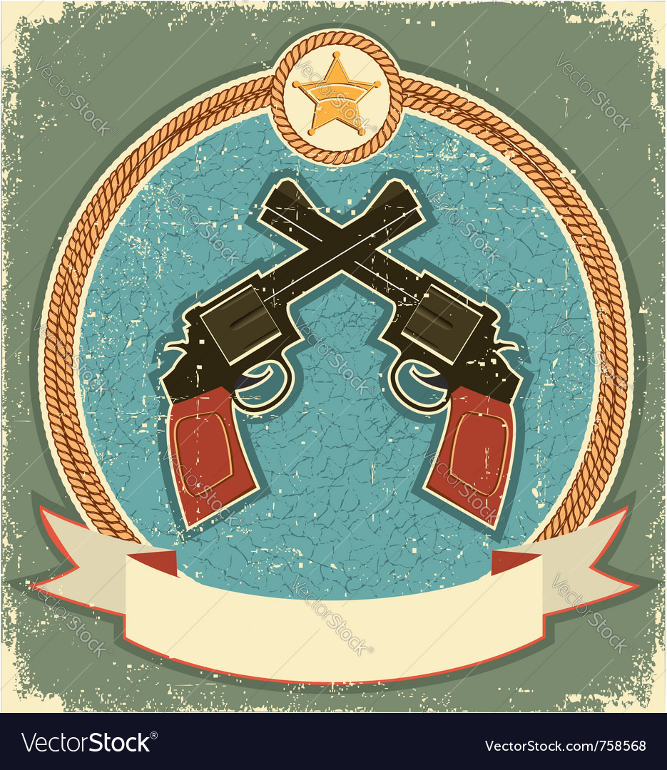 Western revolvers and sheriff star vector image