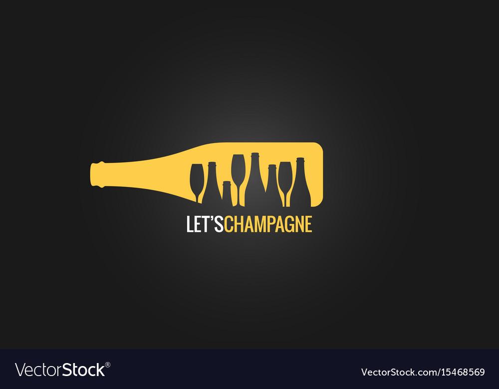 Champagne bottle logo design background vector image