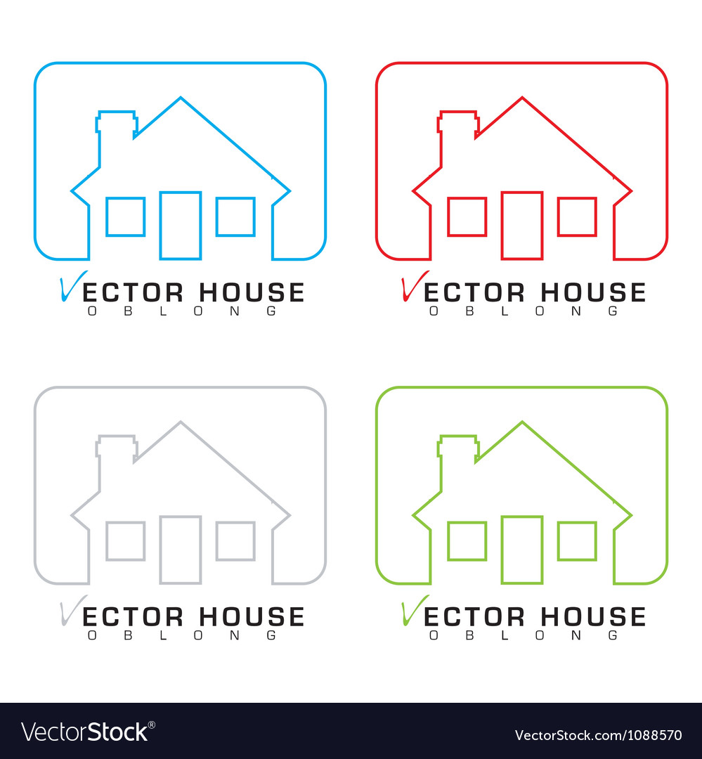 House icon outline set vector image