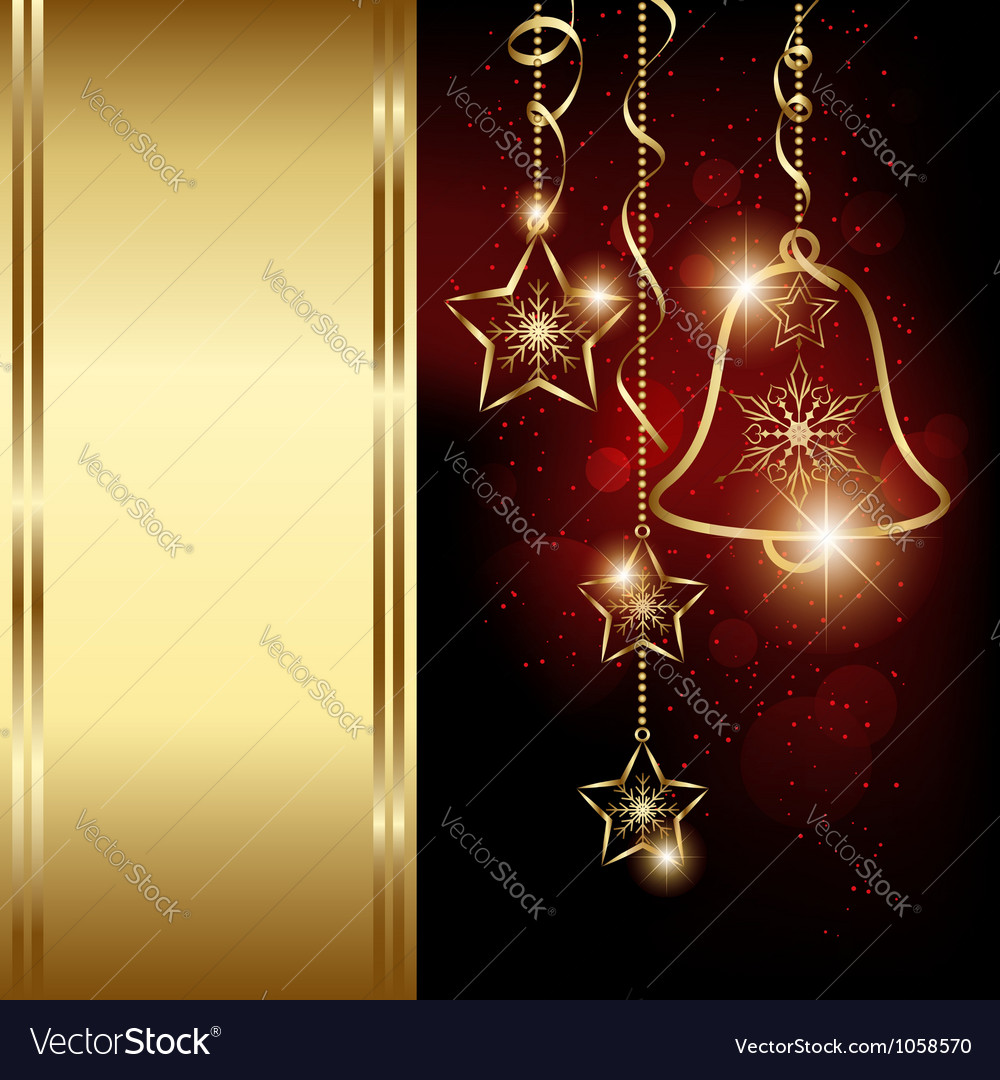Sparkling Red Gold Christmas Bell Snowflakes vector image