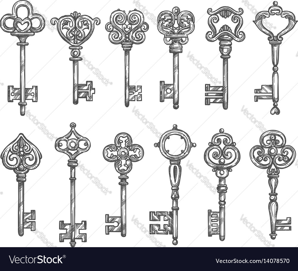 Vintage keys isolated icons sketch set vector image