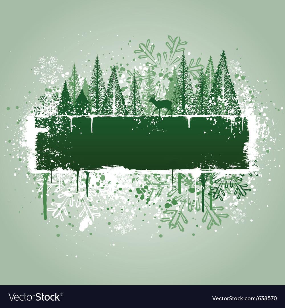 Winter forrest grunge vector image