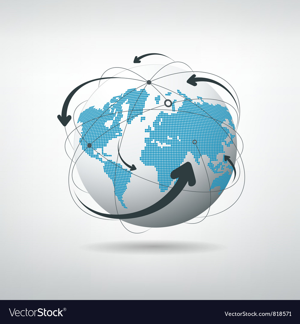 Modern globe connections vector image