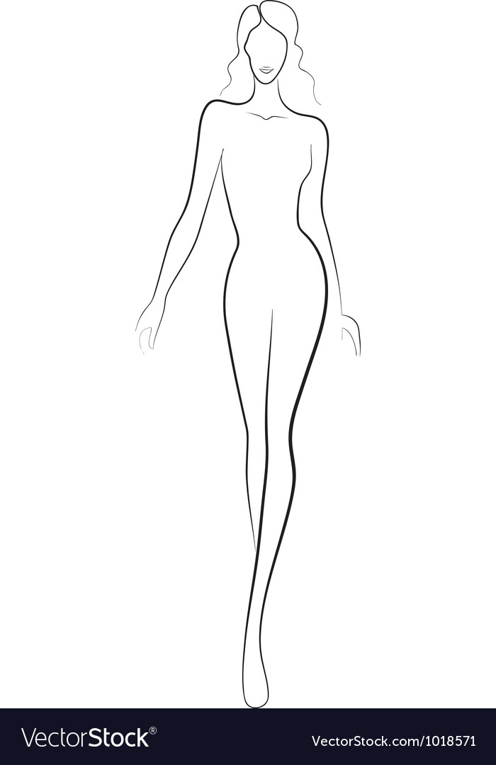 Fashion sketch of catwalk woman vector image