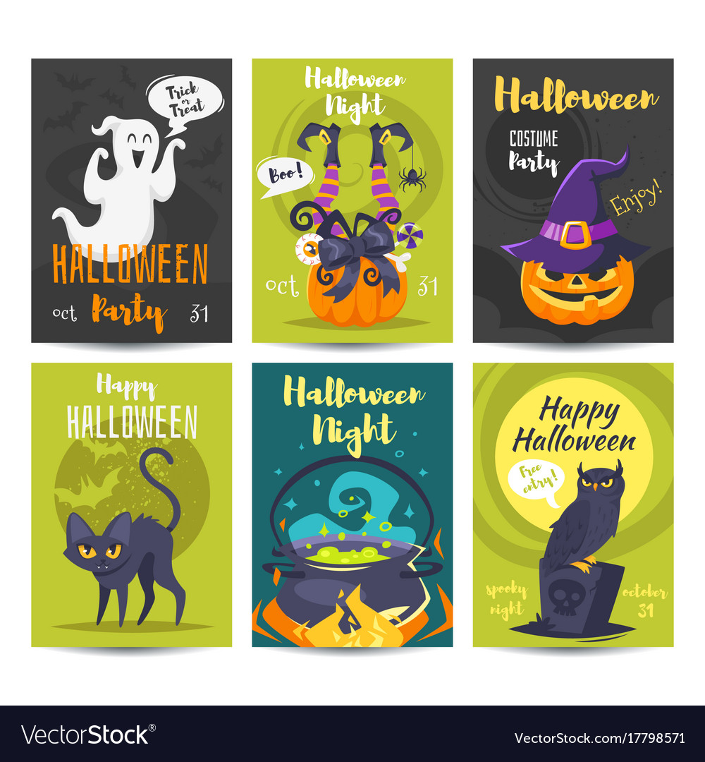 Halloween poster design template Royalty Free Vector Image