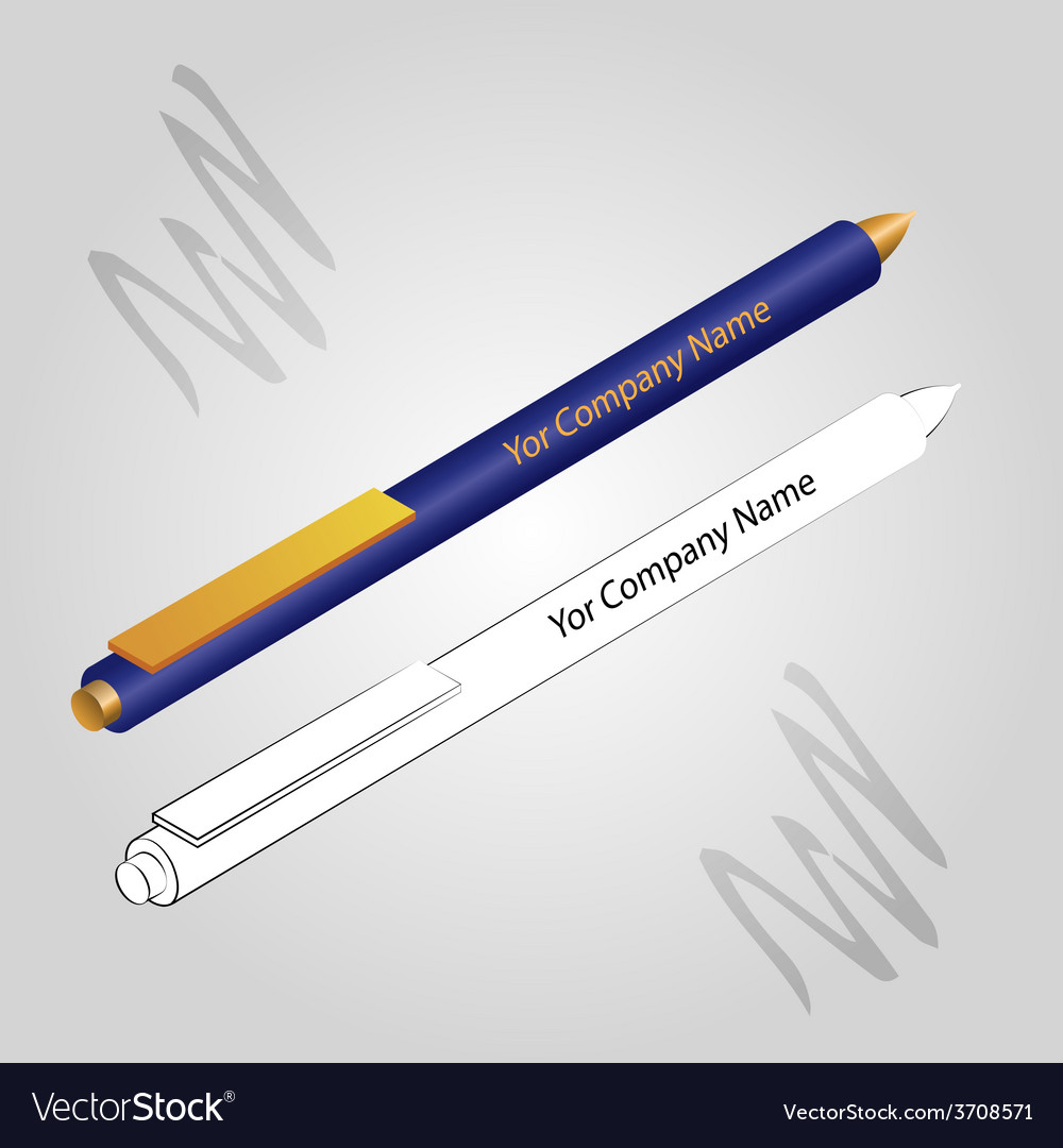 Set of 2 pens isolated on ligh background vector image