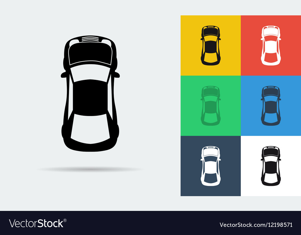 Seven flat icons of top view car vector image