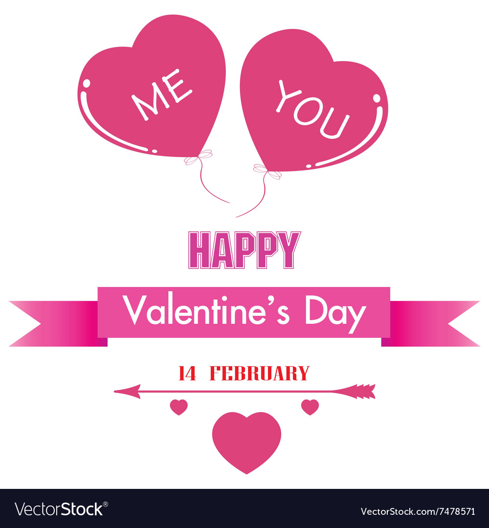 Valentines Day and pink heart isolated on white vector image