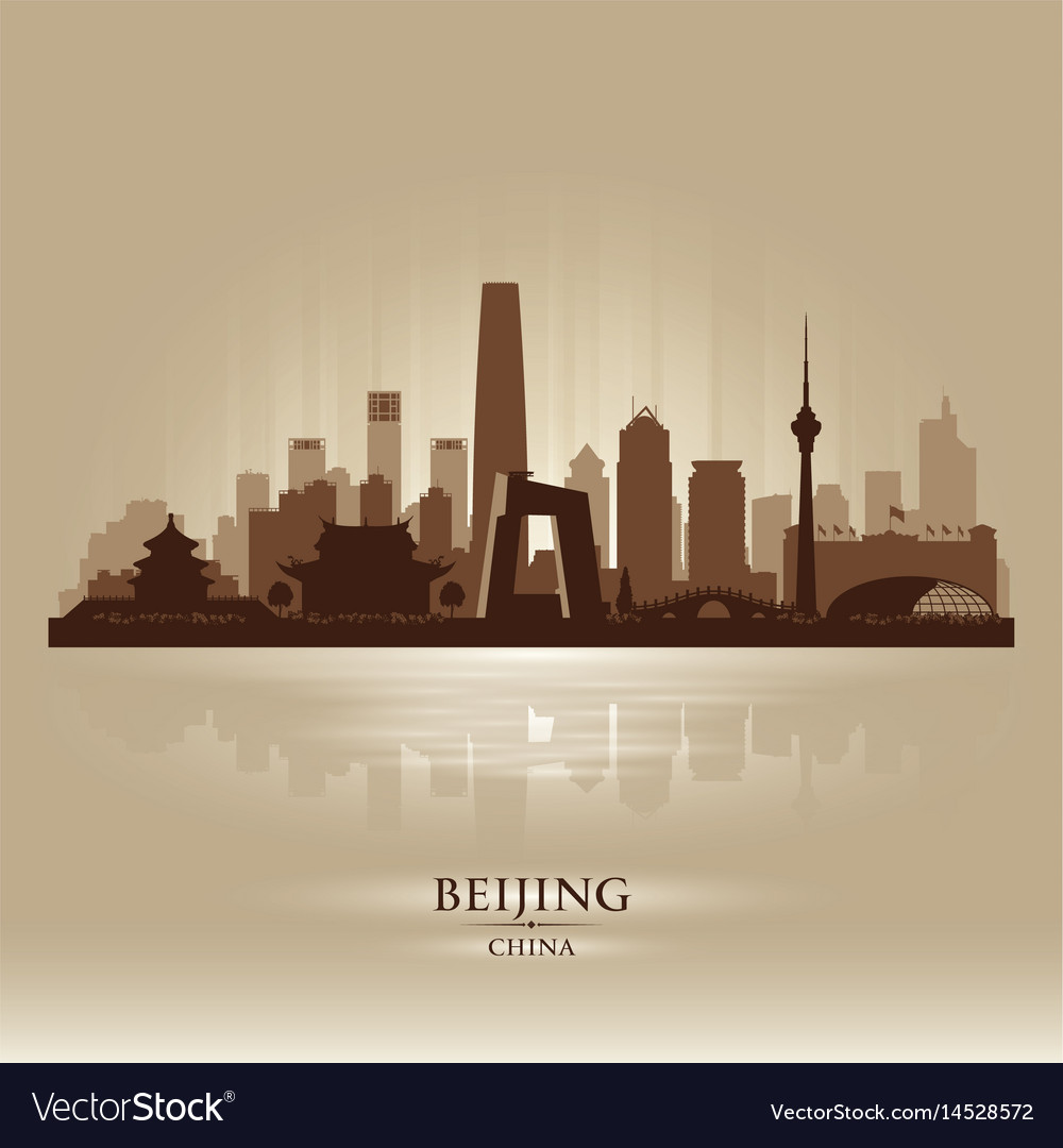 Beijing china city skyline silhouette vector image