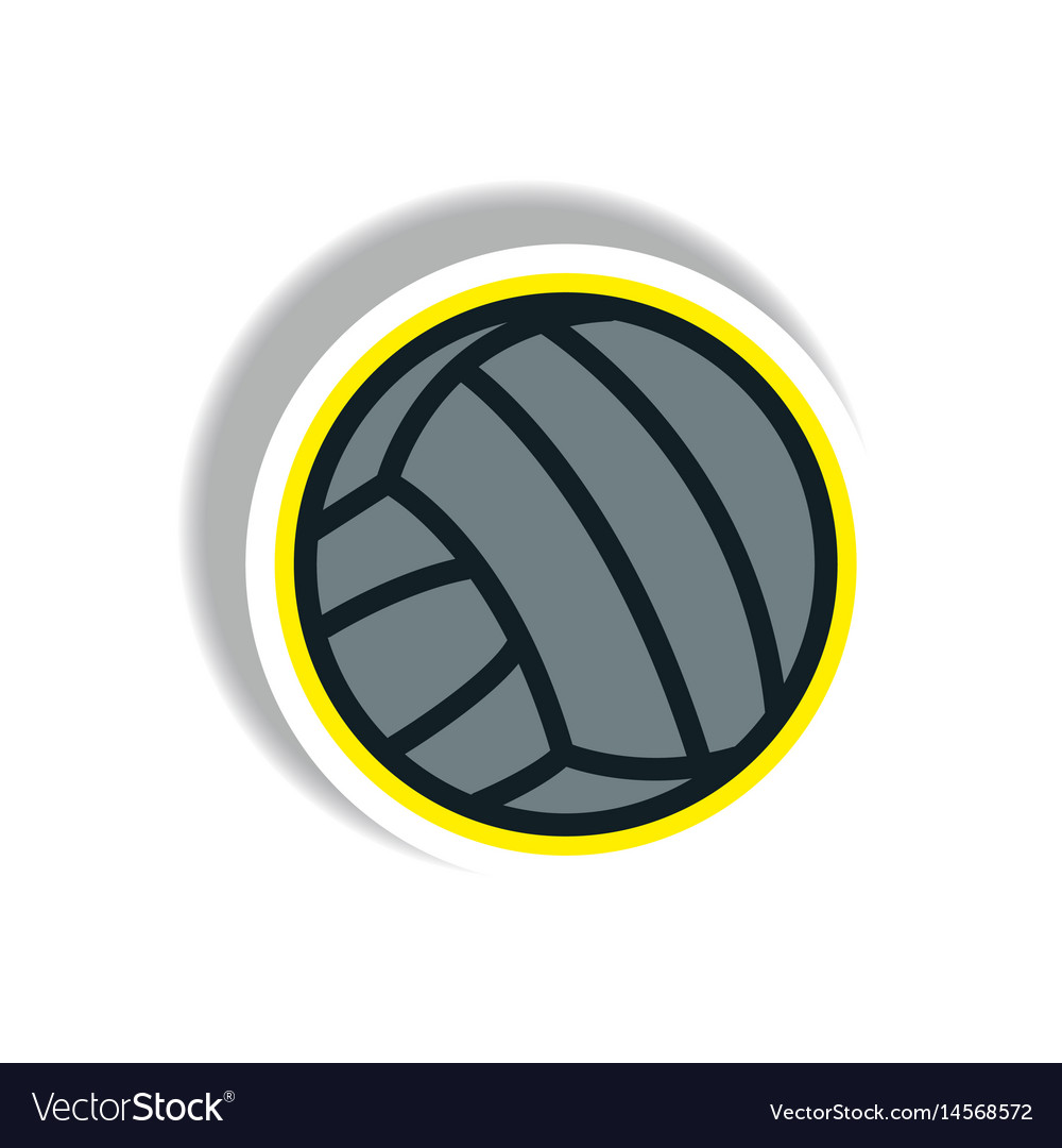 Stylish icon in paper sticker style volleyball