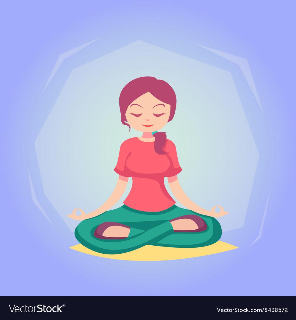 Woman cartoon Yoga pose skill vector image