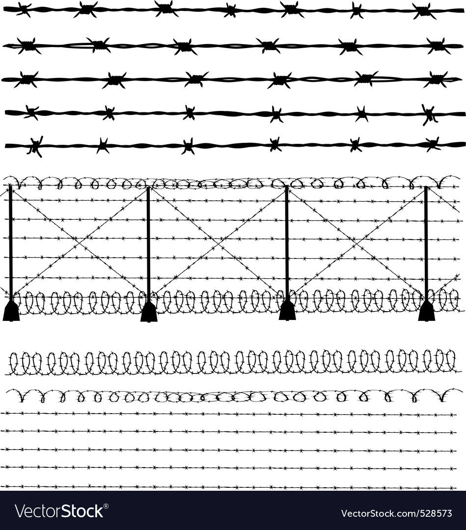 Barbed wire vector brush - Barbed Wire Fence Vector Image
