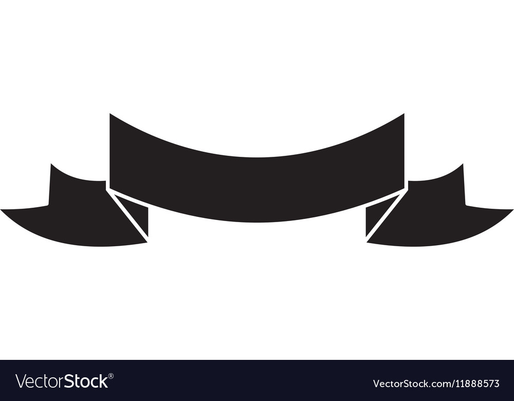 Silhouette black ribbon banner icon vector image