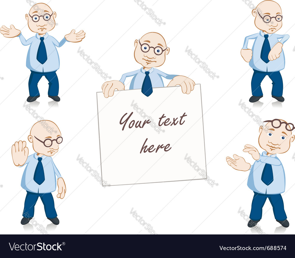 Teacher mascot set with five poses vector image