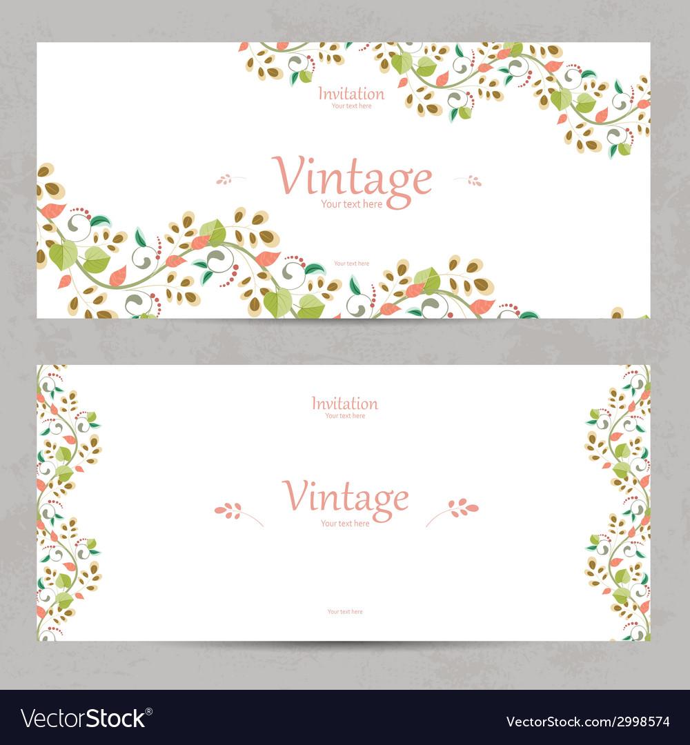 Vintage floral invitation cards for your design vector image