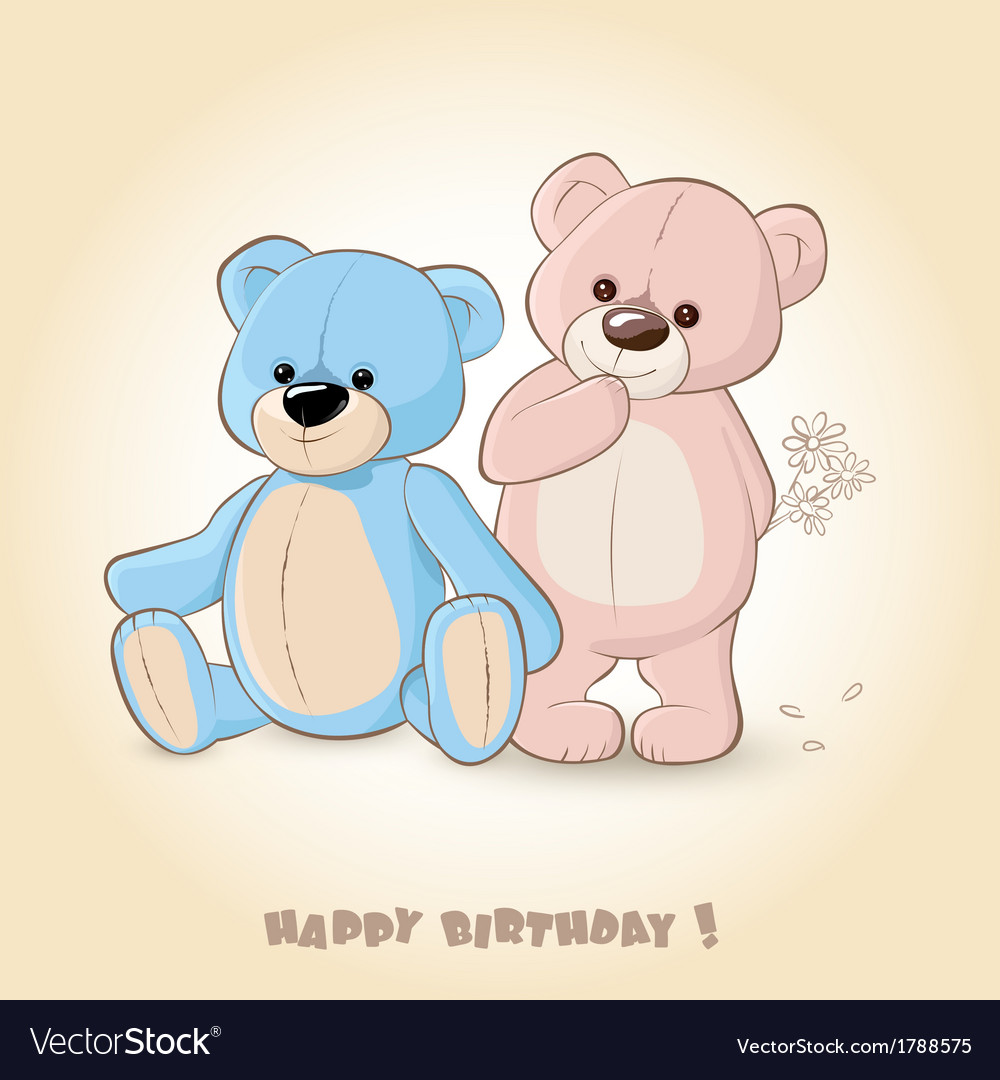 Birthday Card with Teddy Bears Vector Image by Bienchen Image – Birthday Card Bear