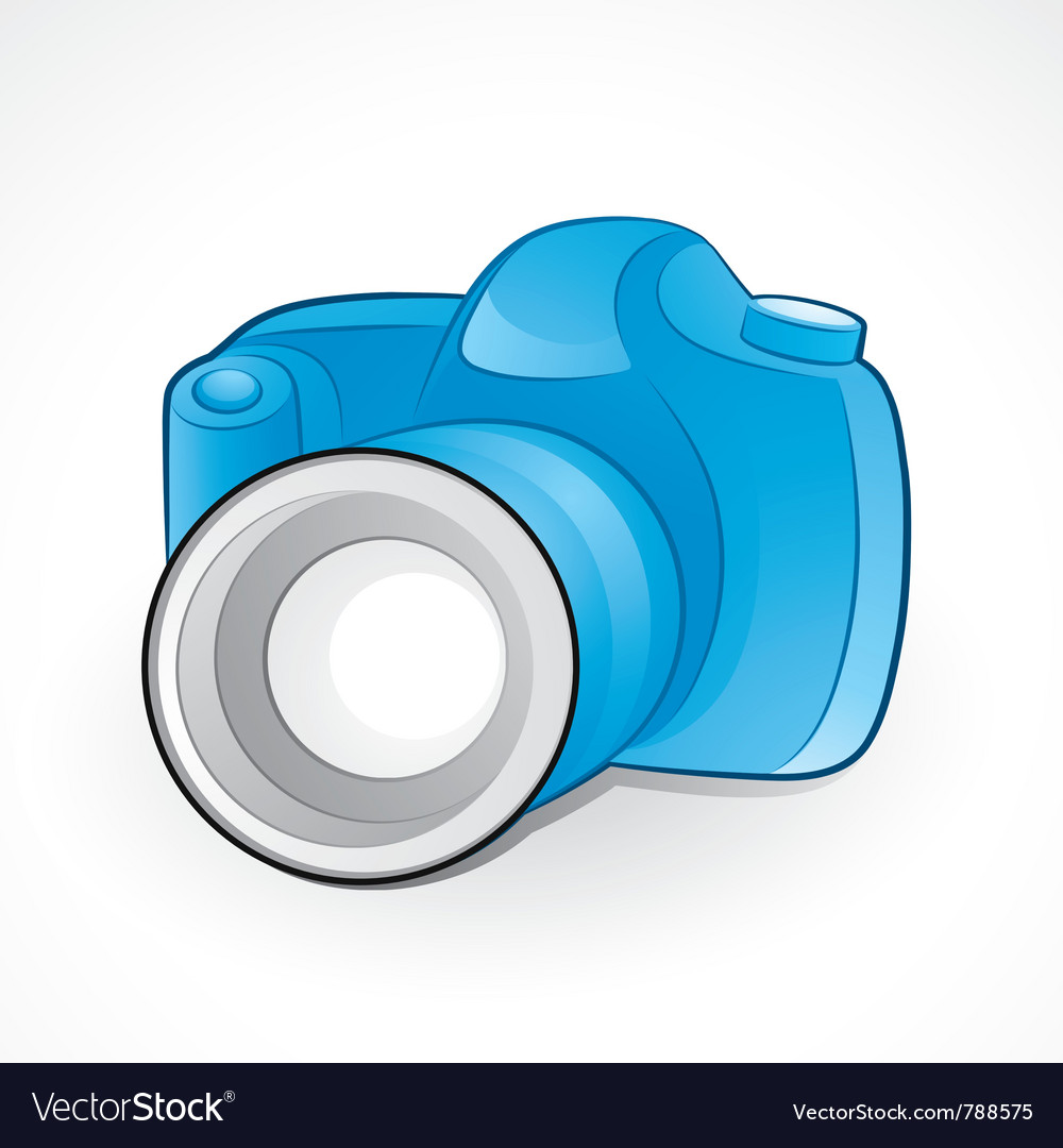 Camera and lens vector image