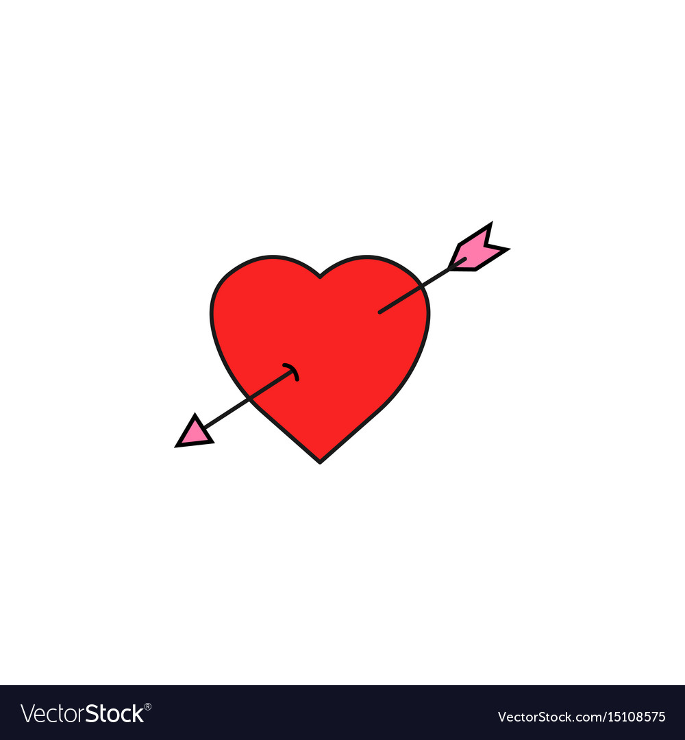 Heart with arrow solid icon love sign valentines vector image