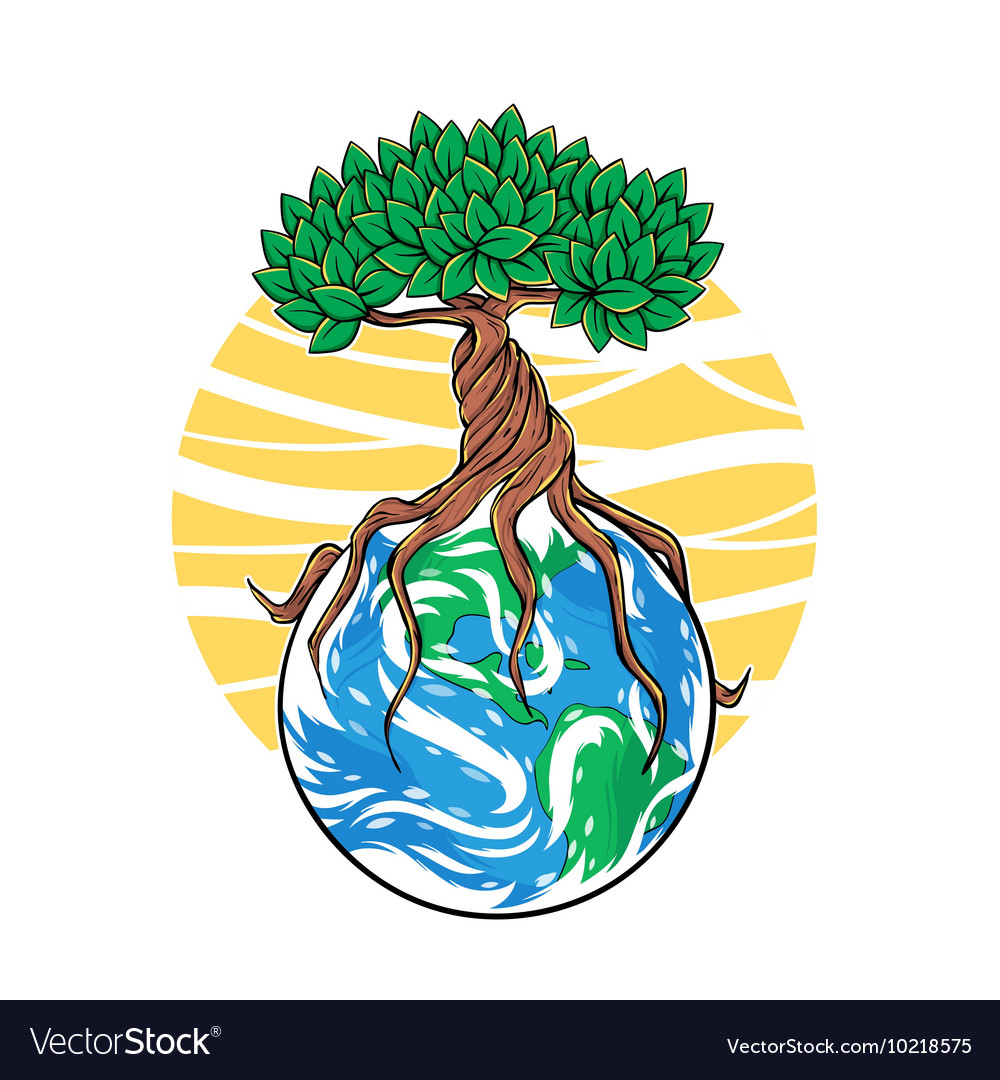 Tree growing on Earth concept of forest protection vector image
