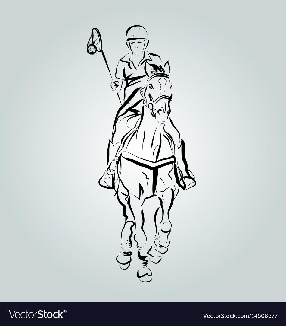 A polo cross player vector image