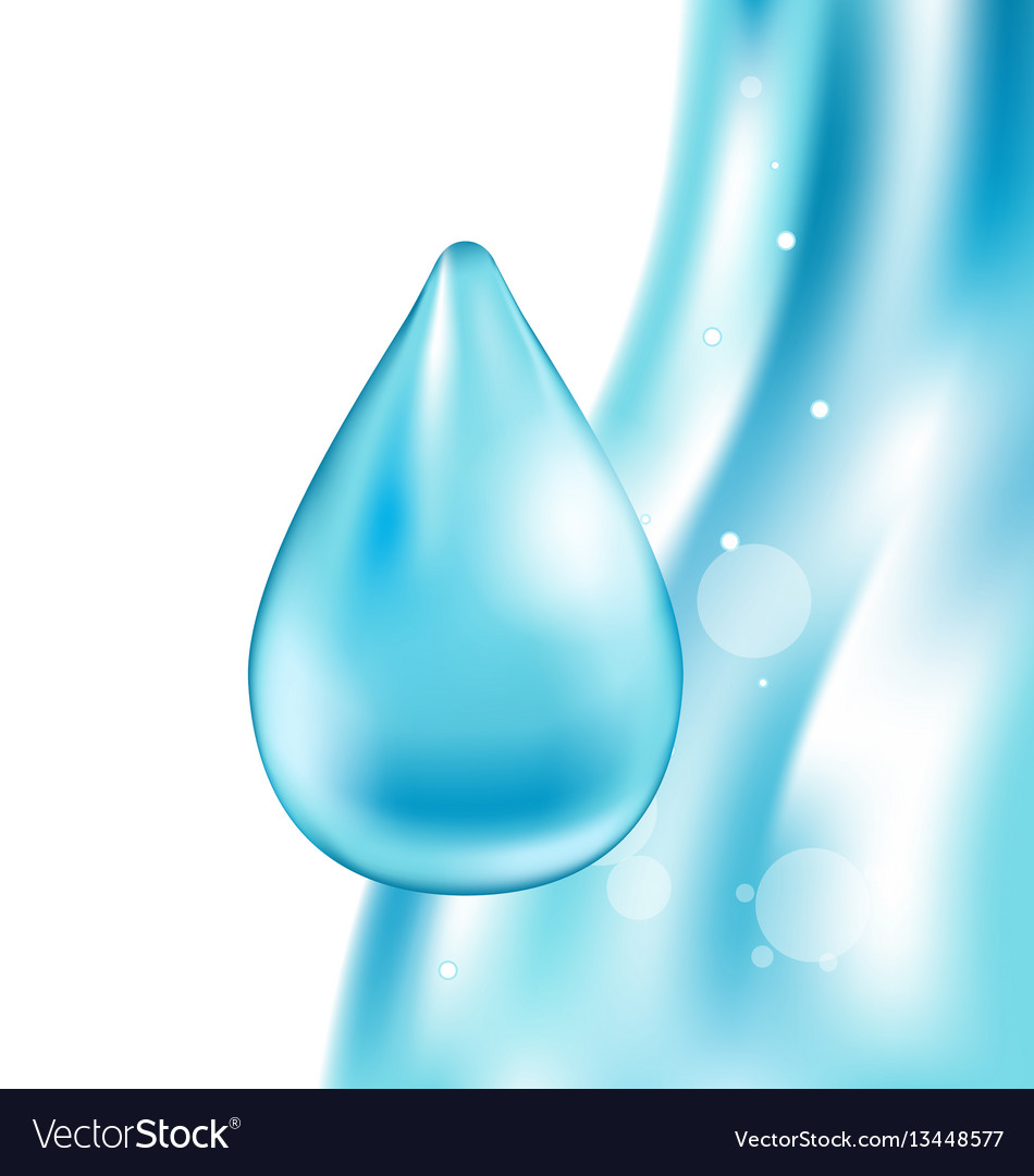 Abstract water wavy background with drop vector image
