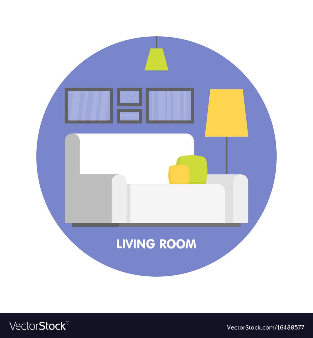 Modern Living Room Interior Design Icon Royalty Free Vector