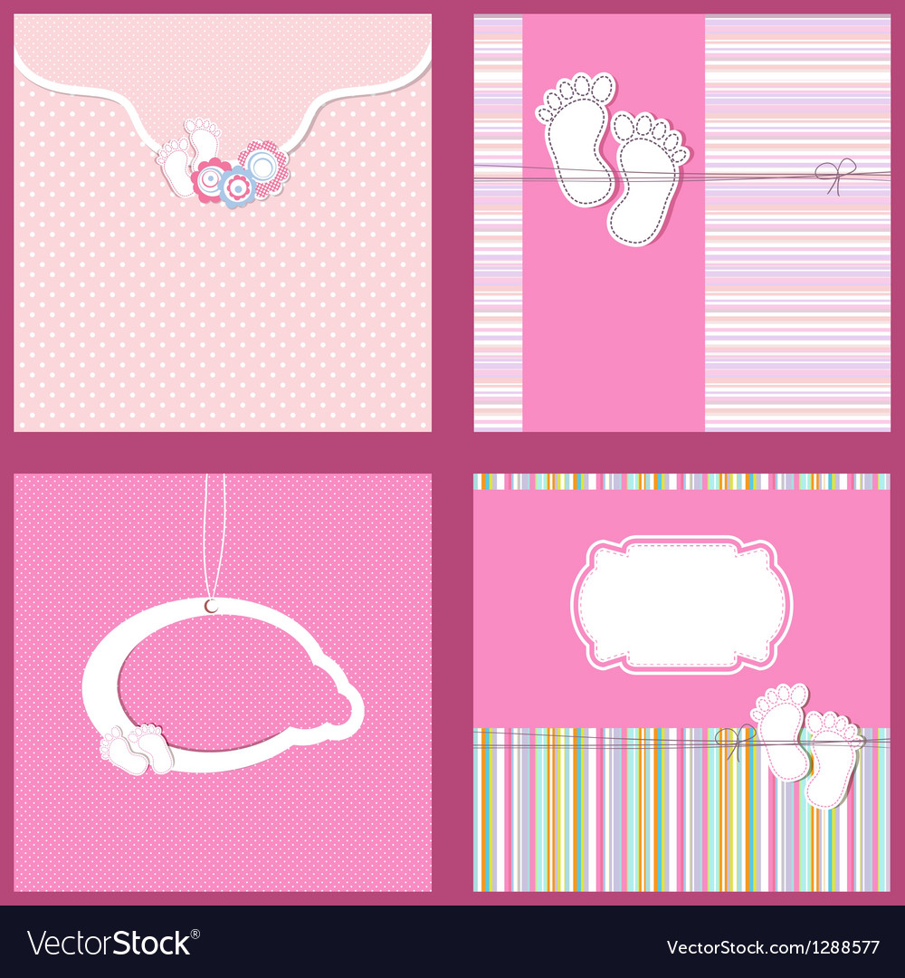 Set Vintage baby girl arrival announcement card vector image