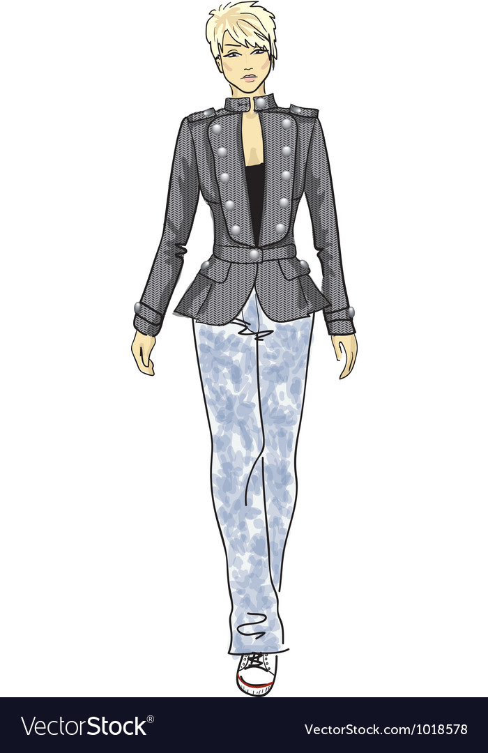 Fashion sketch of woman in military jacket vector image