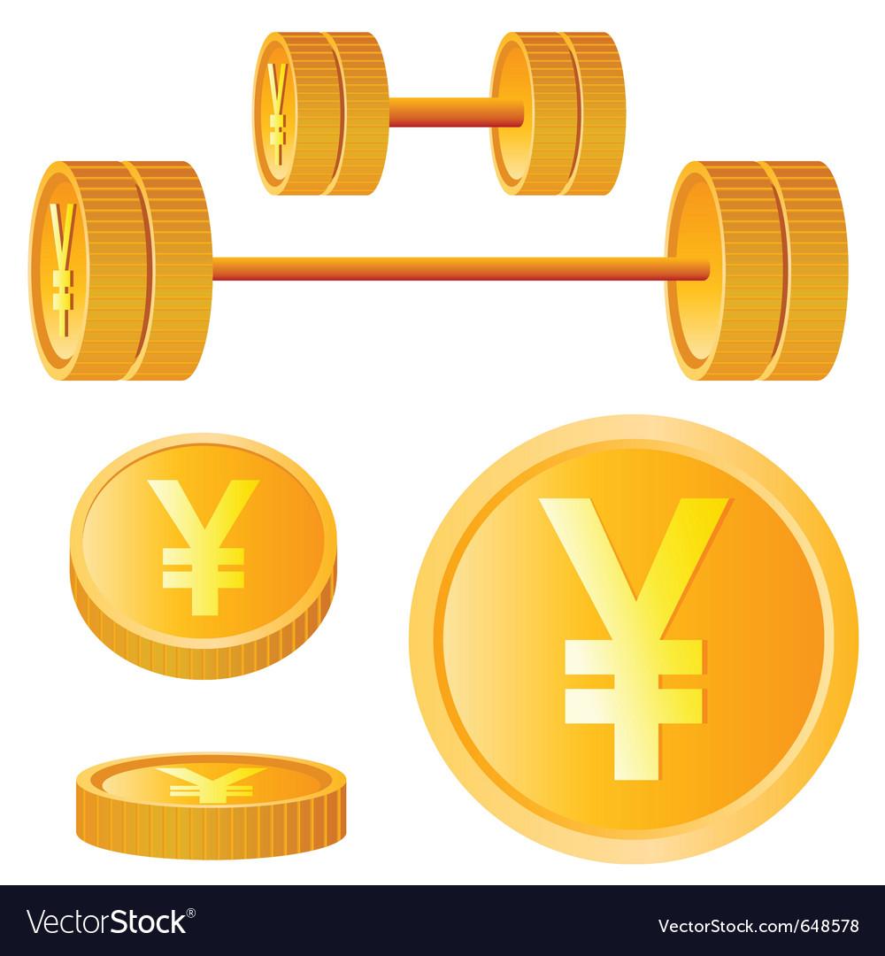Dumbbell of golden discs with yen vector image