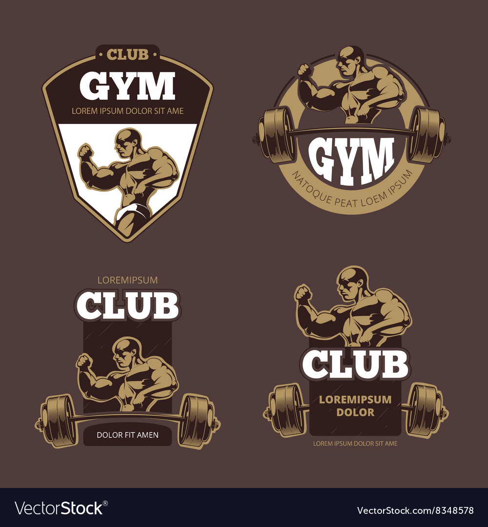 Fitness and bodybuilder sports retro emblems vector image