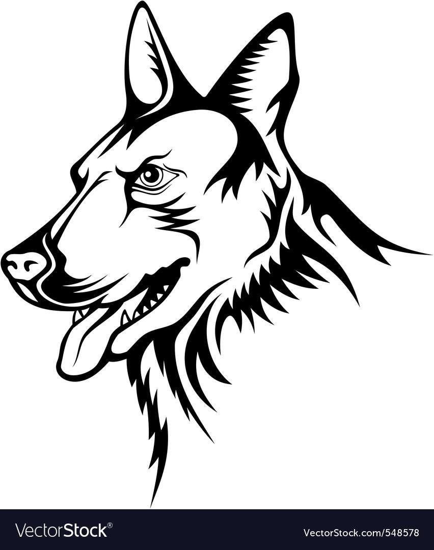 Contour Line Drawing Dog : German shepherd royalty free vector image vectorstock