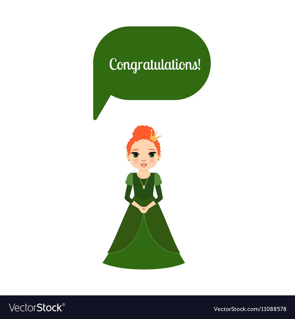 Princess with speech bubble Congratulations vector image