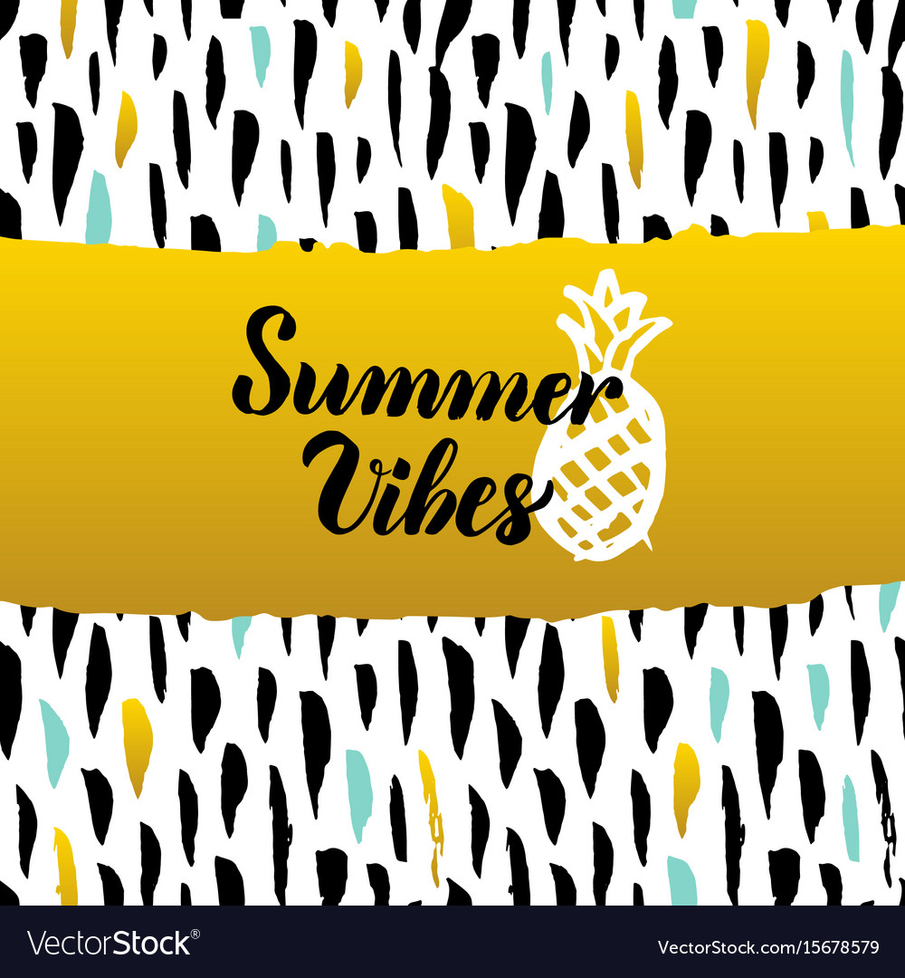 Summer vibes hand drawn design vector image