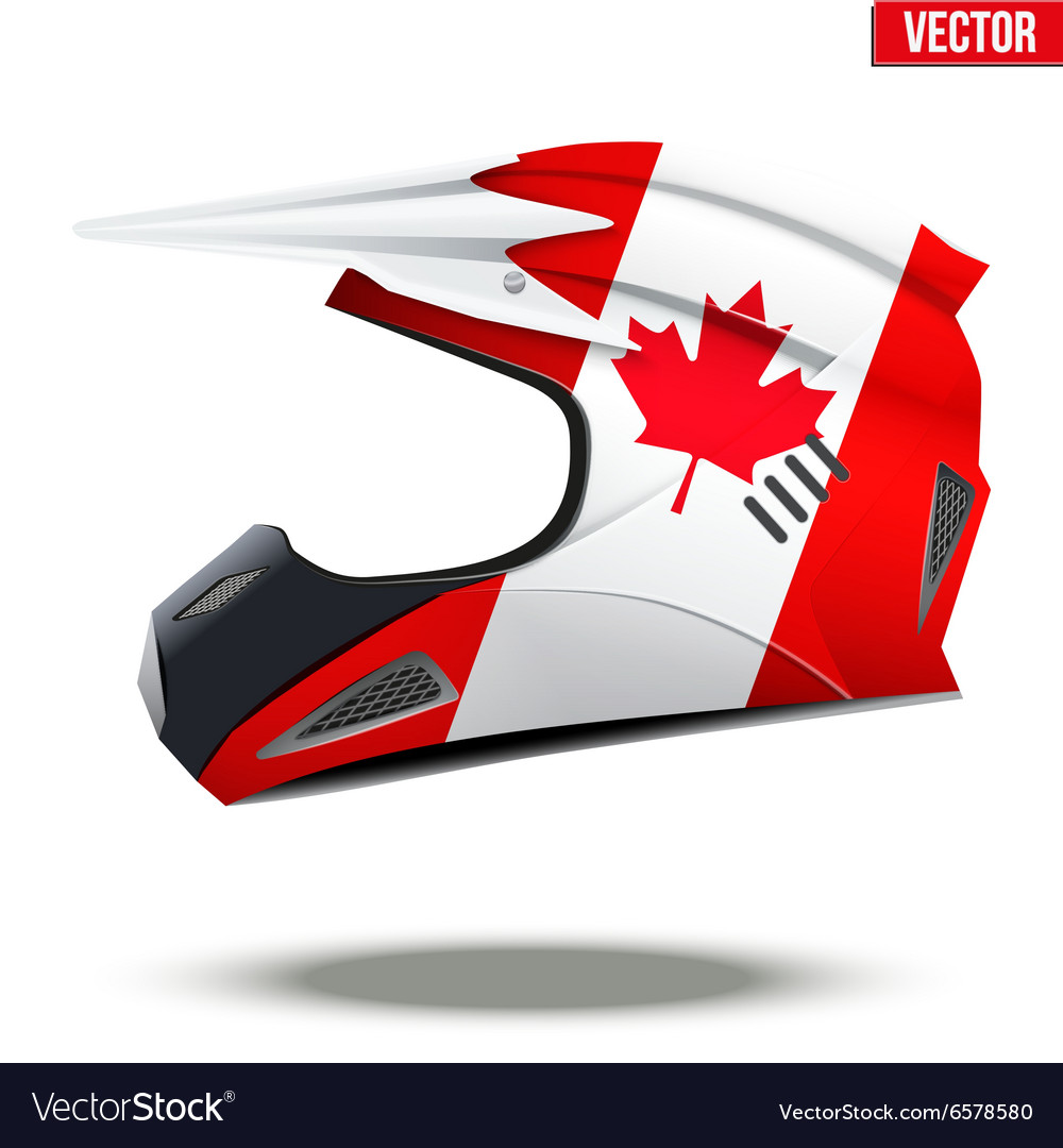 canada flag on motorcycle helmets royalty free vector image