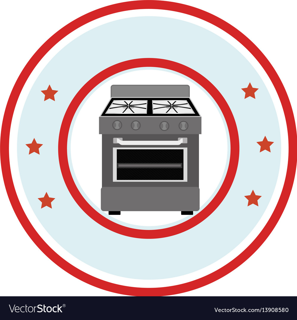 Circular frame of stove with oven vector image